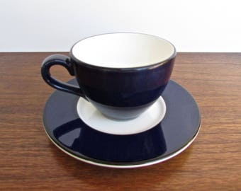 Italian Dark Blue Cup & Saucer, Classic Deepest Navy w/ White Interior, 4 Available