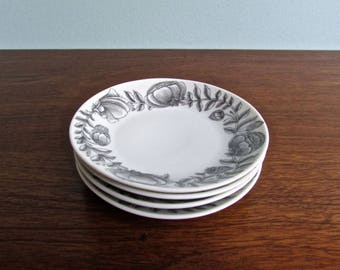 Raymond Loewy - Alain Le Foll for Rosenthal, MCM Porcelain Set of 4 Bread & Butter Plates,  Rosenthal Studio Linie Form 2000