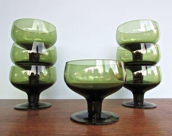 Kjell Blömberg Moss Green Glasses Gullaskruf, Scandinavian Modern Barware
