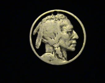Indian Head Nickel - cut coin pendant / charm - Hobo Art Classic - 1925 -SOOPER CHEAP