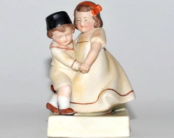Antique William Goebel Dancing Children Boy & Girl Porcelain Figurine Planter, Depose / Export, circa 1900s