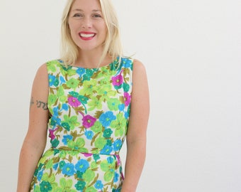 """1960s Spring Floral Cocktail Dress /// Size Extra Small /// 25"""" Waist"""