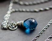 London Blue Topaz Necklace, Topaz Necklace, Blue Topaz, Midnight Blue, Wire Wrapped, Topaz Pendant, Sterling Silver, December Birthstone