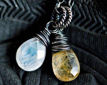 Summer Sale Rutilated Quartz, Gold Rutilated, Quartz Necklace, Quartz Pendant, Moonstone Necklace, Sterling Silver, Starlight Necklace, Wire