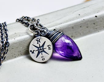 Amethyst Necklace, Amethyst Pendant, February Birthstone, Gemstone Necklace, Gemstone Pendant, Wire Wrapped, Sterling Silver,
