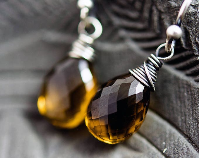 Whiskey Quartz Earrings, Crystal Earrings, Crystal Quartz Jewelry, Caramel Crystals