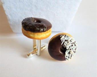 Double Choc Coco Berliner Donut Cufflinks - Miniature Food Art Jewelry - Schickie Mickie Original 100% handmade