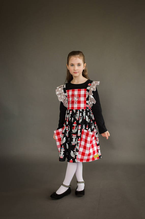 Winter Fox Dress with Red Plaid - Red Plaid Dress - Fox Dress with Big Pockets