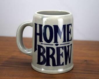 Vintage Home Brew Beer Stein or Coffee Mug, Beer Making Gift, Blue and Grey