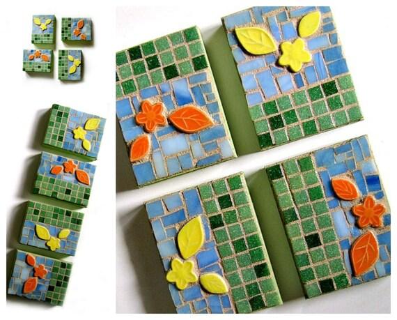 Mosaic Flowers Wall Art, Flower Garden Mosaic Art, 4 pc Mosaic Contemporary Wall Art, Mosaic Wall Hangings, Green Yellow Orange Mosaic Art