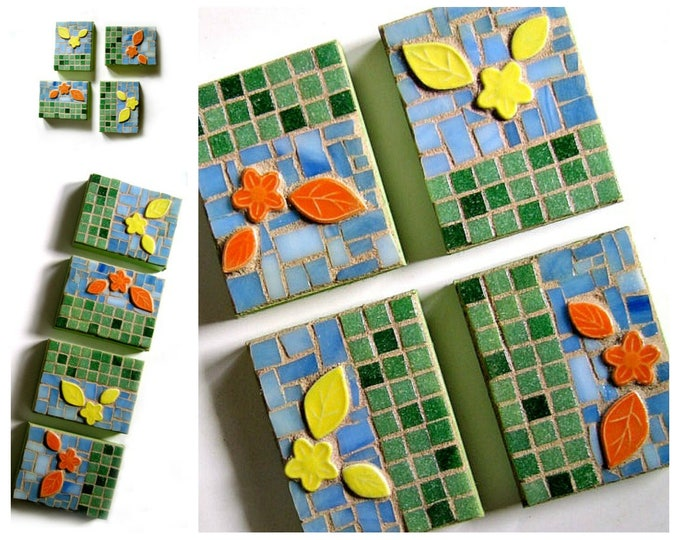 Mosaic Flowers Wall Art, Flower Garden Mosaic Art, 4 pc Mosaic Contemporary Wall Art, Mosaic Wall Hangings, Green Yellow Orange Mosaic Art