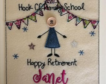 Happy Retirement Card - Personalised & Embroidered