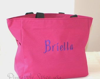 Monogrammed Bridesmaid Tote Bags, Set of 15 Personalized Totes, Custom Embroidery Wedding Party Gift