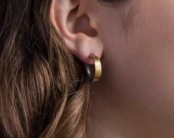 18mm, 22k gold, Hoop Earrings