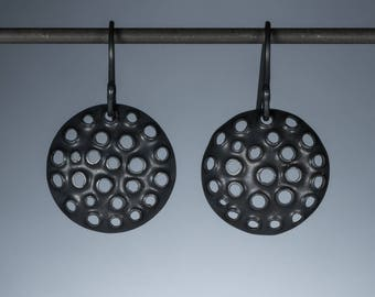 Perforated sterling silver earrings round oxidized 15mm.