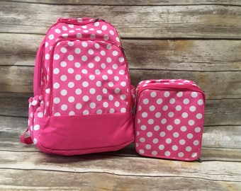 Pink Polka Dot Book bag & Lunch Box COMBO-includes Monogram-School Bag-Diaper Bag
