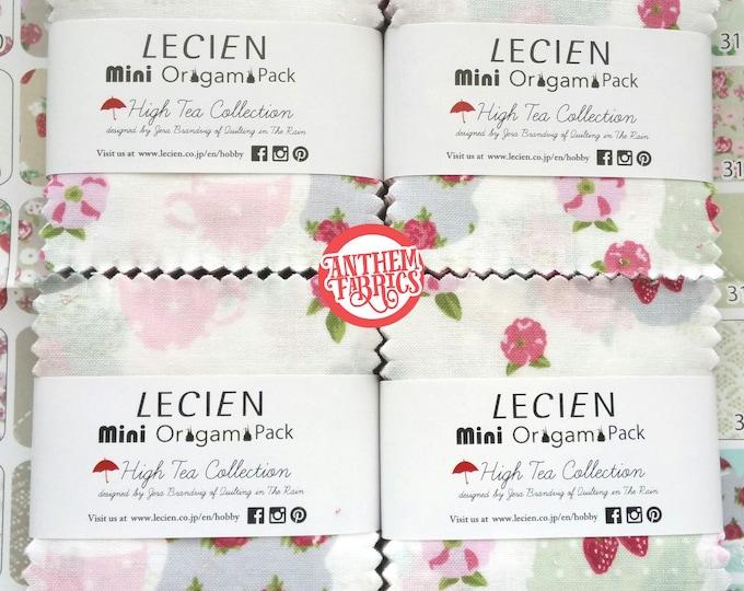 Cotton 2 1/2 x 2 1/2 inch mini charm fabric squares - Jera Brandvig L3034 High Tea Mini Origami - 4 Packs, 42 piece each pack