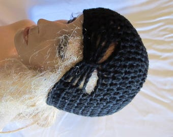 Black Butterfly Stitch Accent Beanie/Turban