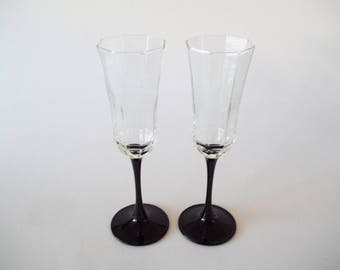 Luminarc Octime Black Champagne Flutes Wine Glasses, Stemware Set of 2, France 1980s