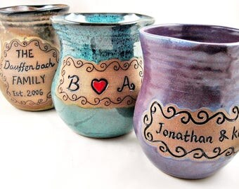 Family established Gift Personalized Family name pottery vase, Gift idea for Wedding Anniversary Housewarming