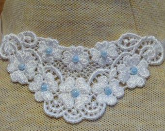 Small white floral applique neckace, choice of colored beads - trach stoma cover