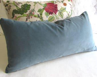 Wedgewood Blue Velvet decorative  pillow 13x26