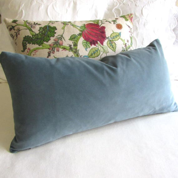 Wedgewood Blue Throw Pillows : Wedgewood Blue Velvet decorative pillow 13x26