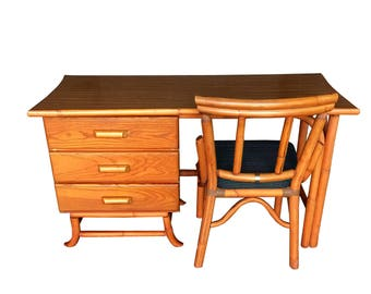 Vintage Rattan Desk and Chair Old Florida Palm Beach Tiki