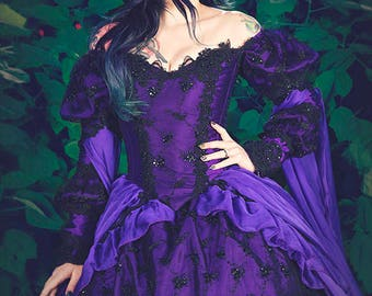 Gothic Wedding Gown Sleeping Beauty Purple and Black Sparkle Fantasy Gown size Small/Medium
