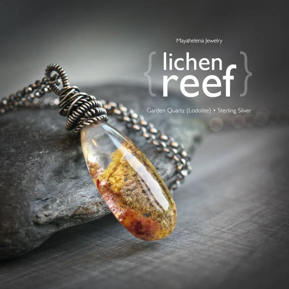 Lichen Reef - Lodolite Quartz Crystal Wire Wrapped Sterling Silver Necklace