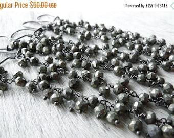 Pyrite dangle earrings   Pyrite chandelier earrings   Long pyrite earrings   Silver pyrite earrings   Gypsy earrings   Pyrite jewelry