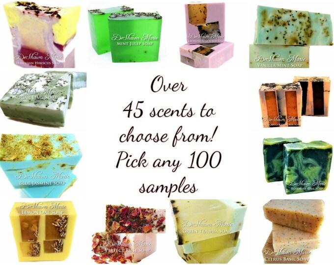 SOAP- One Hundred 2oz handmade soap samples, vegan soap, natural soap, wedding favors, christmas gifts
