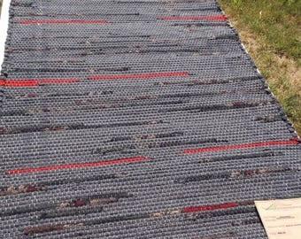 Handwoven Wool Rag Rug, (Knickerwick,49)-291s