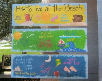 Tropical Whimsical How To Live At The Beach Wood Sign Hand Painted