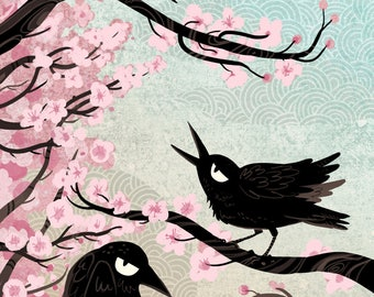 Spring Crows 5x7 mini art print