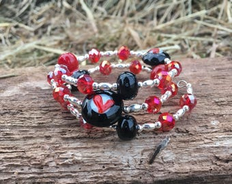 Red and Black Lampwork Bead Bracelet FREE Shipping