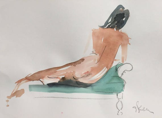 Nude painting- Original watercolor painting of Nude #1447 by Gretchen Kelly