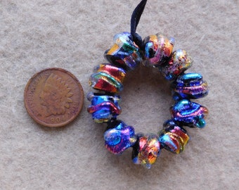 5 Pairs of  Bright Mini Baroque Dichroic Lampwork Beads by Dee Howl Beads