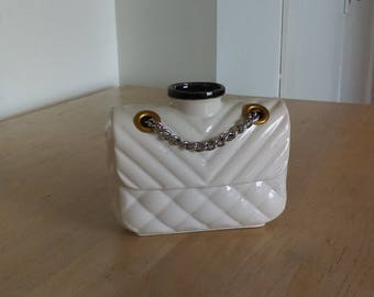 Porcelain Flap purse quilted and ribbed