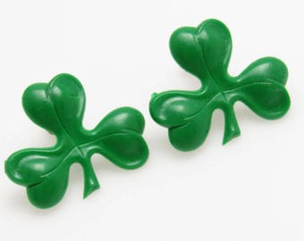 Shamrock Earrings Vintage Green Jewelry E8571
