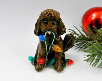 Labradoodle GoldenDoodle Brown Christmas Ornament Figurine Porcelain Clay Lights
