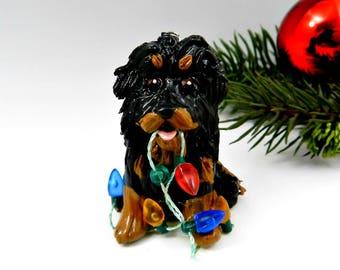 Tibetan Mastiff Black Tan Christmas Ornament Figurine Lights Porcelain