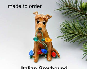 Italian Greyhound Made to Order Christmas Ornament Figurine in Porcelain
