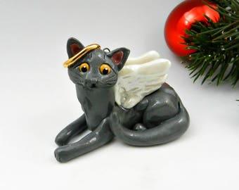 Angel Russian Blue Cat Christmas Ornament Figurine Memorial Porcelain
