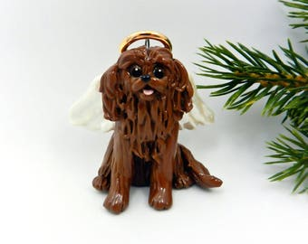 Angel Cavalier King Charles Spaniel Ruby Porcelain Christmas Ornament Figurine Memorial Clay