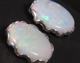 Natural Opals 2.58 carats t.w. Handset in .925 Sterling Silver Earrings  -  NOW on SALE  -  Fast Free Shipping with gift wrap
