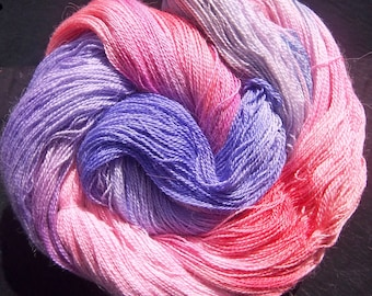 Alpaca Silk Lace 2ply Yarn Elvincraft Hand Dyed Painted Spring Blossoms