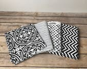 DESTASH Quilting Cotton Black and white bundle Alexander Henry Chevron dots lines b and w