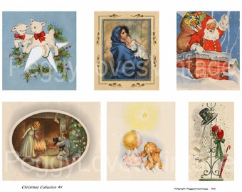 Christmas Collection 1 Digital Collage from Vintage Greeting Cards - Instant Download - Cut Outs