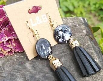 Vegan leather dangle earrings